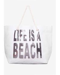 Dorothy Perkins | White Life Is A Beach Shopper Bag | Lyst