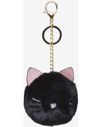 Dorothy Perkins - Black Cat Pom With Keychain - Lyst