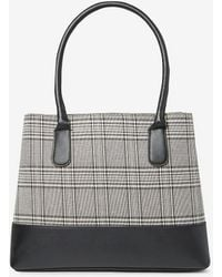 Dorothy Perkins - Check Panel Double Zip Tote Bag - Lyst