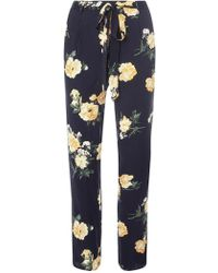 Dorothy Perkins - Navy And Yellow Floral Print Joggers - Lyst