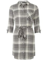 Dorothy Perkins - Grey Checked Shirt Dress - Lyst