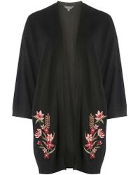 Dorothy Perkins - Tall Black Embroidered Front Cardigan - Lyst