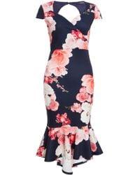 Dorothy Perkins - Quiz Blue Fishtail Midi Dress - Lyst