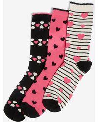 Dorothy Perkins - Multi Coloured 3 Pack Heart Print Ankle Socks - Lyst