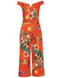 Dorothy Perkins - Quiz Orange Floral Print Jumpsuit - Lyst