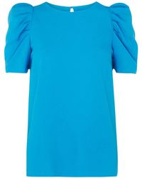 Dorothy Perkins - Tall Turquoise Blue Puff Sleeve Top - Lyst