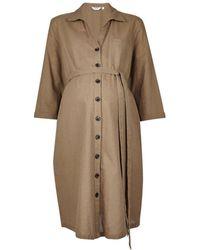 Dorothy Perkins - Maternity Khaki Linen Shirt Dress - Lyst