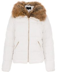 Dorothy Perkins - Quiz White Padded Faux Fur Jacket - Lyst