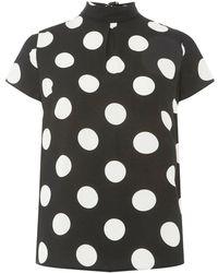 Dorothy Perkins - Monochrome Spot Print Turn Back T-shirt - Lyst