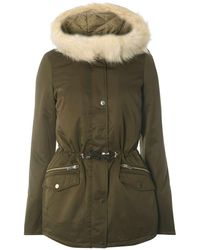 Dorothy Perkins - Tall Olive Green Faux Fur Parka Coat - Lyst