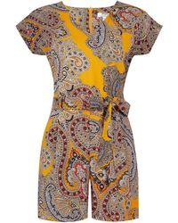 Dorothy Perkins - Petite Multi Coloured Paisley Print Playsuit - Lyst