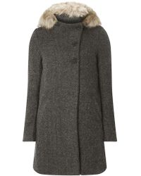 Dorothy Perkins - Only Grey Faux Fur Hood Wool Coat - Lyst