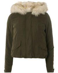 Dorothy Perkins - Only Green Faux Fur Short Parka Coat - Lyst