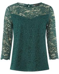 Dorothy Perkins - Green 3/4 Sleeve Lace Top - Lyst