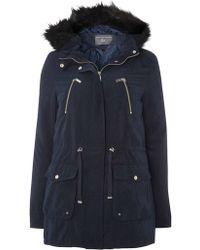 Dorothy Perkins - Tall Navy Contrast Fur Parka Coat - Lyst