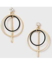 Dorothy Perkins - Gold And Black Hoop Earrings - Lyst