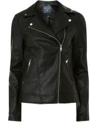 Dorothy Perkins - Tall Black Faux-leather Biker Jacket - Lyst