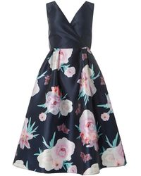Dorothy Perkins - Luxe Navy Printed Bow Prom Dress - Lyst