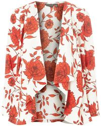 Dorothy Perkins - Cream And Red Floral Print Cover Up - Lyst