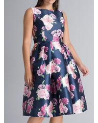 Dorothy Perkins - Chi Chi London Curve Navy Floral Print Skater Dress - Lyst ac50bae5d