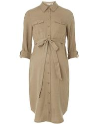 Dorothy Perkins - Maternity Khaki Linen Shirt Dress - Lyst