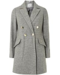 Dorothy Perkins - Petite Grey Double Breasted Coat - Lyst