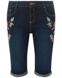 Dorothy Perkins - Tall Indigo Floral Embroidered Shorts - Lyst