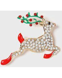 Dorothy Perkins - Gold Christmas Reindeer Brooch - Lyst