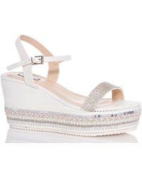 Dorothy Perkins - Quiz White Diamante Wedge Sandals - Lyst
