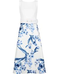2654470f63 ASOS Premium Midi Dress With Ruched Panel Detail In China Blue Print ...