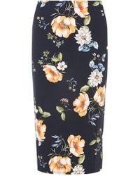 Dorothy Perkins - Navy Floral Pencil Skirt - Lyst