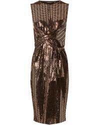 Dorothy Perkins - Bronze Square Glitter Twist Detail Bodycon Dress - Lyst