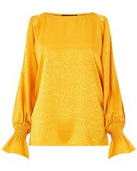 Dorothy Perkins - Yellow Jacquard Fluted Cold Shoulder Top - Lyst