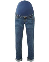 Dorothy Perkins - Maternity Blue Over Bump Boyfriend Jeans - Lyst