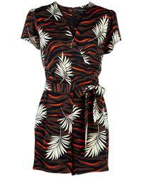 54b7bd31edc Dorothy Perkins - Chocolate And Orange Tiger Print Wrap Playsuit - Lyst