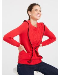 Draper James - Anna Ruffle Cable Sweater - Lyst