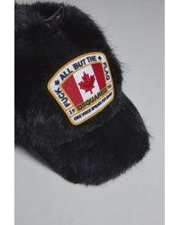 51896263539 DSquared² Fox Fur And Nylon Baseball Hat in Black for Men - Lyst