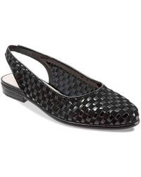 Trotters - Lucy Woven Suede And Patent Leather Slingback Flats - Lyst