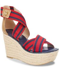 Tommy Hilfiger - Thina Wedge Sandal - Lyst