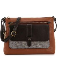 529b93f9b1a5 Lyst - Fossil Kinley Large Leather Crossbody Bag in Brown