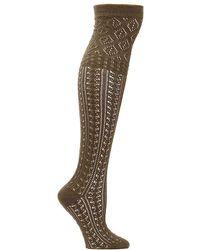 Memoi   Mixed Pattern Over The Knee Socks   Lyst