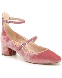 62bee104c63c Sam Edelman Lulie Leather-trimmed Velvet Pumps in Pink - Lyst