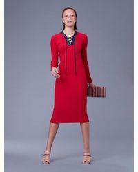Diane von Furstenberg - Long-sleeve Lace Up Jumper Dress - Lyst