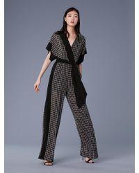 Diane von Furstenberg - Short-sleeve Faux Wrap Jumpsuit - Lyst