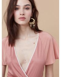 Diane von Furstenberg - Hammered Gold And Stone Earrings - Lyst