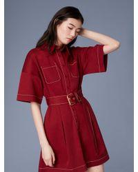 Diane von Furstenberg - Short-sleeve Button-up Belted Cotton Shirt Dress - Lyst