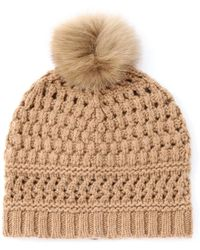 Diane von Furstenberg - Fur Detail Cable Knit Wool Hat - Lyst