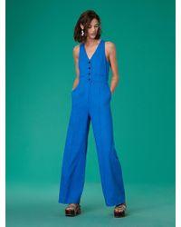 Diane von Furstenberg - Sleeveless Button-up Fitted Linen Jumpsuit - Lyst