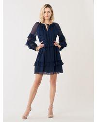 Diane von Furstenberg - Haven Silk-chiffon Drop-waist Mini Dress - Lyst