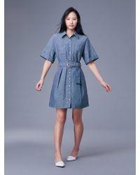 Diane von Furstenberg - Short-sleeve Button-up Denim Belted Shirt Dress - Lyst